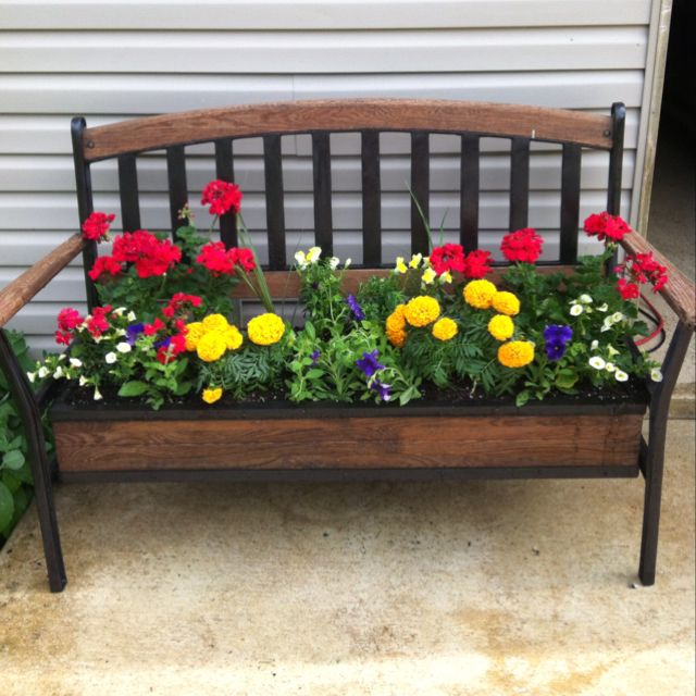 flower bed on benches