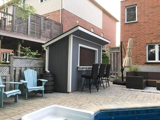 Custom Grey Poolside Algonquin Shed