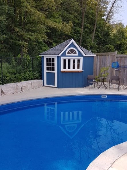 Custom Five Sided Poolside Shed