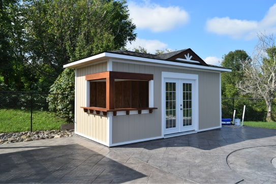 Custom Pool Hip Roof Shed With Bar Unit