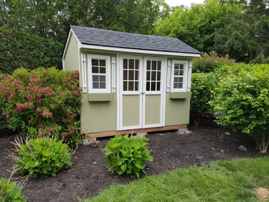 Custom Green Haliburton Cottage Shed