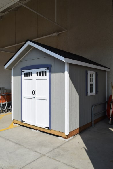 Grey Highland Gable Shed White Trims